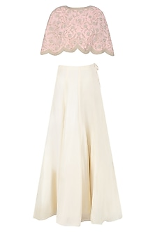 Pink Floral Embroidered Cape and Cream Skirt Set