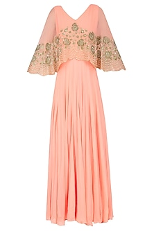 Peach Floral Sequins and Tar Embroidered Cape Anarkali Set