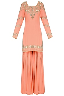 Peach Floral Sequins and Tar Embroidered Kurta and Sharara Pants Set