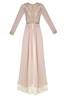 Champagne Color Floral Embroidered Anarkali and Cream Skirt Set