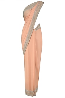 Peach and Gold Embroidered Saree and Blouse Set