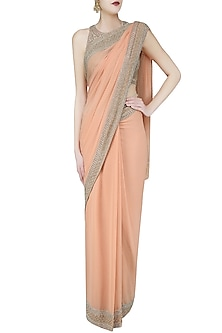 Peach and Gold Embroidered Saree and Blouse Set by Malasa
