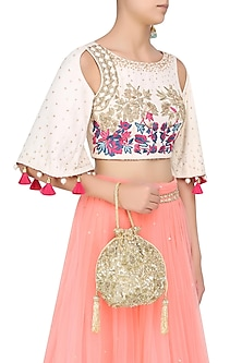 Gold Sequins And Beads Embroidered Potli Bag by Malasa