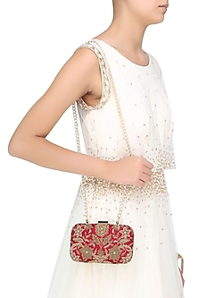 Red And Gold Floral Zardozi And Sequins Embroidered Box Clutch