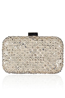 Silver Zari And Sequins Embroidered Box Clutch by Malasa
