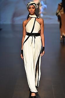 Off white and black Goa Goddess saree style drape/dress  by Malini Ramani
