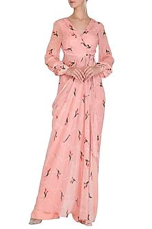 Blush Embellished Printed Tunic With Pants by Mahima Mahajan