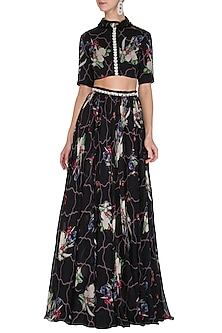 Black Printed & Embellished Lehenga Skirt With Crop Top by Mahima Mahajan