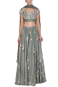 Olive Green Printed & Embellished Lehenga Set by Mahima Mahajan