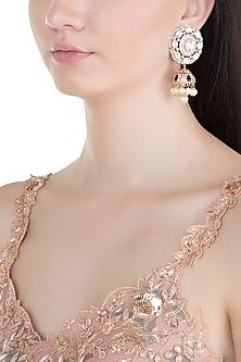 Gold Finish Meenakari Kundan & Pearl Jhumka Earrings by Moh-Maya by Disha Khatri