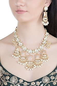 Gold Finish Meenakari Kundan & Pearl Necklace Set by Moh-Maya by Disha Khatri
