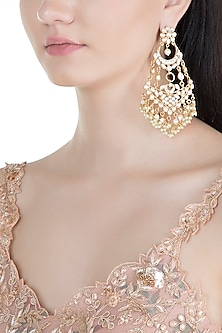 Gold Finish Kundan & Pearl Long Earrings by Moh-Maya by Disha Khatri