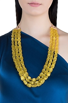 Gold Finish Layered Yellow Glass Beaded Necklace by Moh-Maya by Disha Khatri