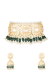 Gold Finish Emerald & Polki Kundan Choker Necklace Set by Moh-Maya by Disha Khatri