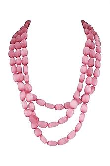 Pink Glass Beaded Layered Necklace by Moh-Maya by Disha Khatri