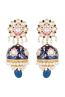 Gold Finish Blue Meenakari Long Jhumka Earrings by Moh-Maya by Disha Khatri