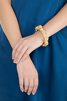 Gold Finish Kundan Bangle by Moh-Maya by Disha Khatri