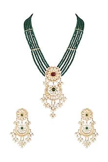 Gold Finish Emerald Beaded & Kundan Long Necklace Set by Moh-Maya by Disha Khatri