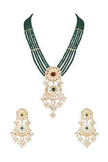 Gold Finish Emerald Beaded & Kundan Long Necklace Set by Moh-Maya by Disha Khatri