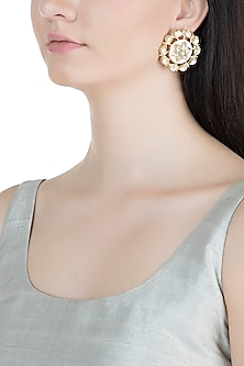 Gold Finish Light Pink Meenakari Stud Earrings by Moh-Maya by Disha Khatri