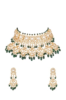 Gold Finish Emerald, Kundan & Pearl Choker Necklace Set by Moh-Maya by Disha Khatri