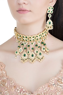 Gold Finish Emerald, Kundan & Pearl Long Choker Necklace Set by Moh-Maya by Disha Khatri