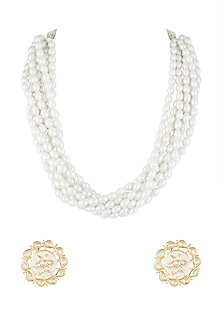 Gold Finish Pearl Necklace Set by Moh-Maya by Disha Khatri