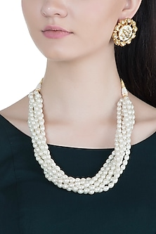 Gold Finish Pearl Necklace Set by Moh-Maya by Disha Khatri