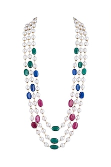 Gold Finish Multi Colored Beaded Long Necklace by Moh-Maya by Disha Khatri