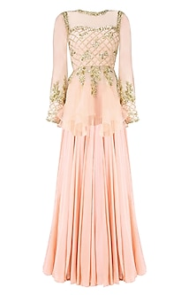 Pastel Pink Floral Embroidered Peplum Blouse and Lehenga Skirt Set