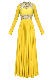 Mango Yellow Embroidered High Neck Anarkali by Mahima Mahajan