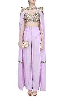 Lavender Cape Pant Set by Mahima Mahajan