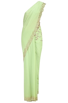 Pista Green Embellished Saree with Blouse