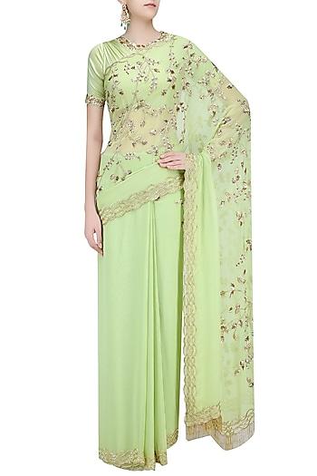 Pista Green Embellished Saree with Blouse by Mahima Mahajan