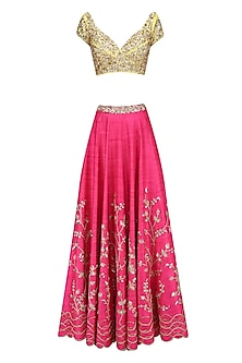 Candy Pink Amd Yellow Embellished Lehenga Set