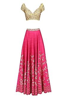 Candy Pink Amd Yellow Embellished Lehenga Set by Mahima Mahajan