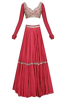 Red Embellished Lehenga Set by Mahima Mahajan