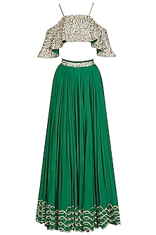 Emerald Green Embroidered off Shoulder Blouse and Lehenga Skirt Set