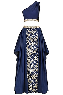 Navy Blue Embroidered One Shoulder Top and And Skirt Set