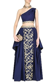 Navy Blue Embroidered One Shoulder Top and And Skirt Set by Mahima Mahajan