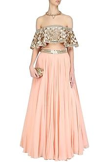 Pastel Pink Embroidered off Shoulder Blouse and Lehenga Skirt Set by Mahima Mahajan