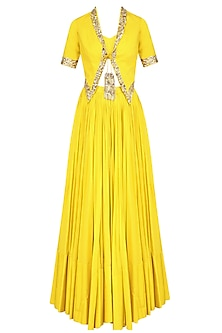 Yellow Embroidered Short Jacket, Bustier and Lehenga Skirt Set