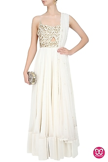 Ivory And Gold Floral Embroidered Cutout Anarkali Suit by Mahima Mahajan