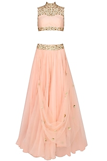 Pastel Pink And Gold Floral Embroidered Blouse And Lehenga Set