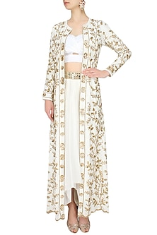 Ivory And Gold Floral Embroidered Jacket, Bustier And Dhoti Skirt Set by Mahima Mahajan