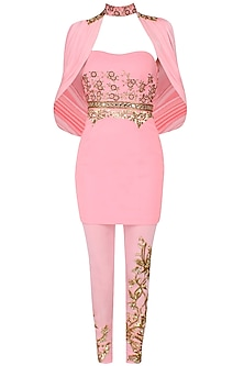 Candy Pink And Gold Floral Embroidered Dress, Cape And Pants Set by Mahima Mahajan