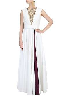 Ivory And Burgundy Panel Floral Embroidered Flared Gown by Mahima Mahajan
