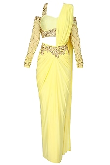 Yellow And Gold Floral Embroidered Drape Saree With Drop Shoulder Blouse