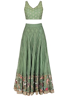Forest Green Floral Embroidered Lehenga Set