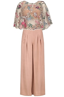 Blush Pink Embroidered Cape, Palazzo Pants and Inner Blouse Set by Mansi Malhotra